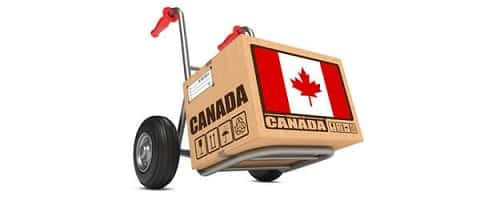 A box with a Canadian flag on it.